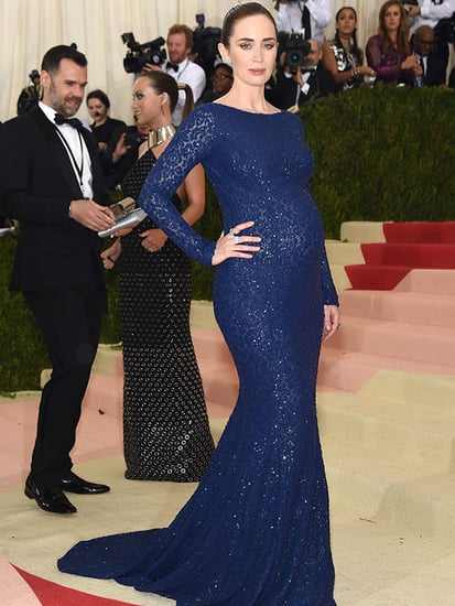 Emily Blunt Goes Glam (and Shows Off Her Bump!) in Gorgeous Blue Gown at the Met Gala