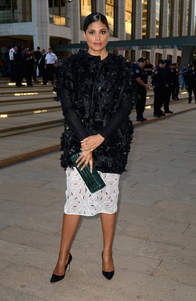 At Lincoln Center, Rachel Roy arrived for the opera in a textural combo.