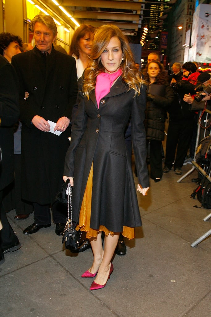 SJP brightened up the Broadway opening of Present Laughter, styling a flirty tangerine skirt with fuchsia pumps and a hot-pink scarf.