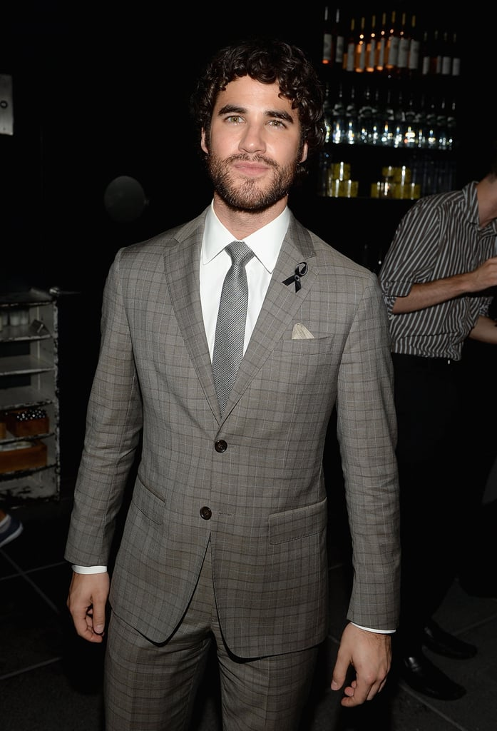 Darren Criss wore a black ribbon on his lapel.
