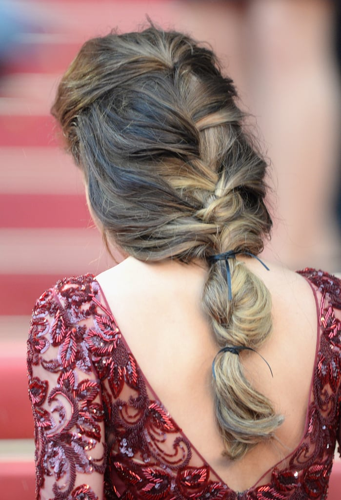 Cheryl Cole's hair was styled in a loose braid that harkened back to medieval times at the premiere of Jimmy P. (Psychotherapy of a Plains Indian) at the Cannes Film Festival.