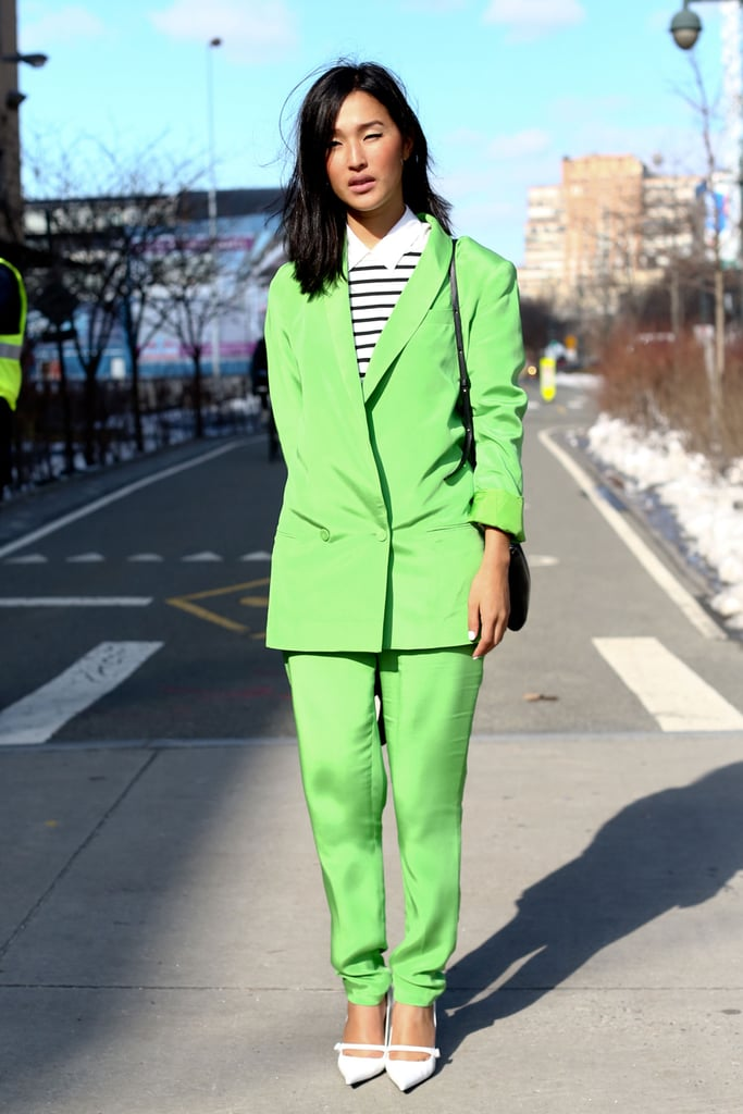 Suiting got a cool-girl makeover in a shot of high-octane lime green. 10001280
