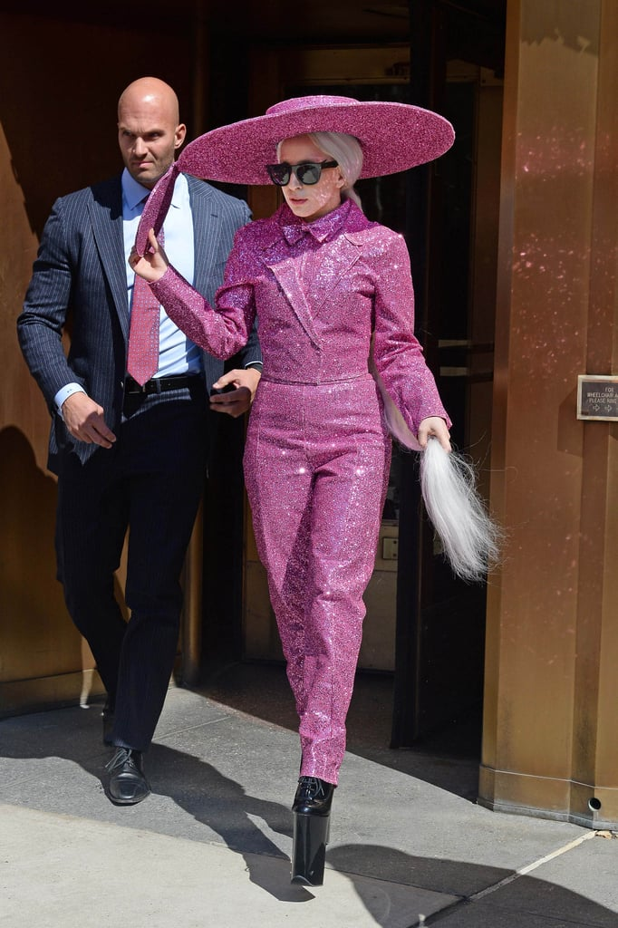 Lady Gaga in Pink Glitter Suit in 2014