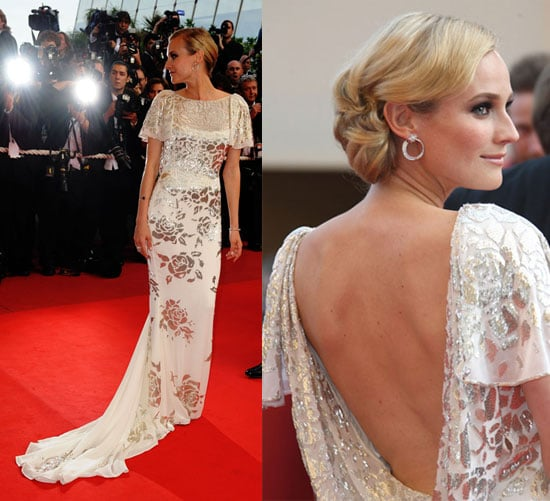 Diane Kruger Wears White and Silver Marchesa Gown to Inglourious Basterds Premiere at 2009 Cannes Film Festival