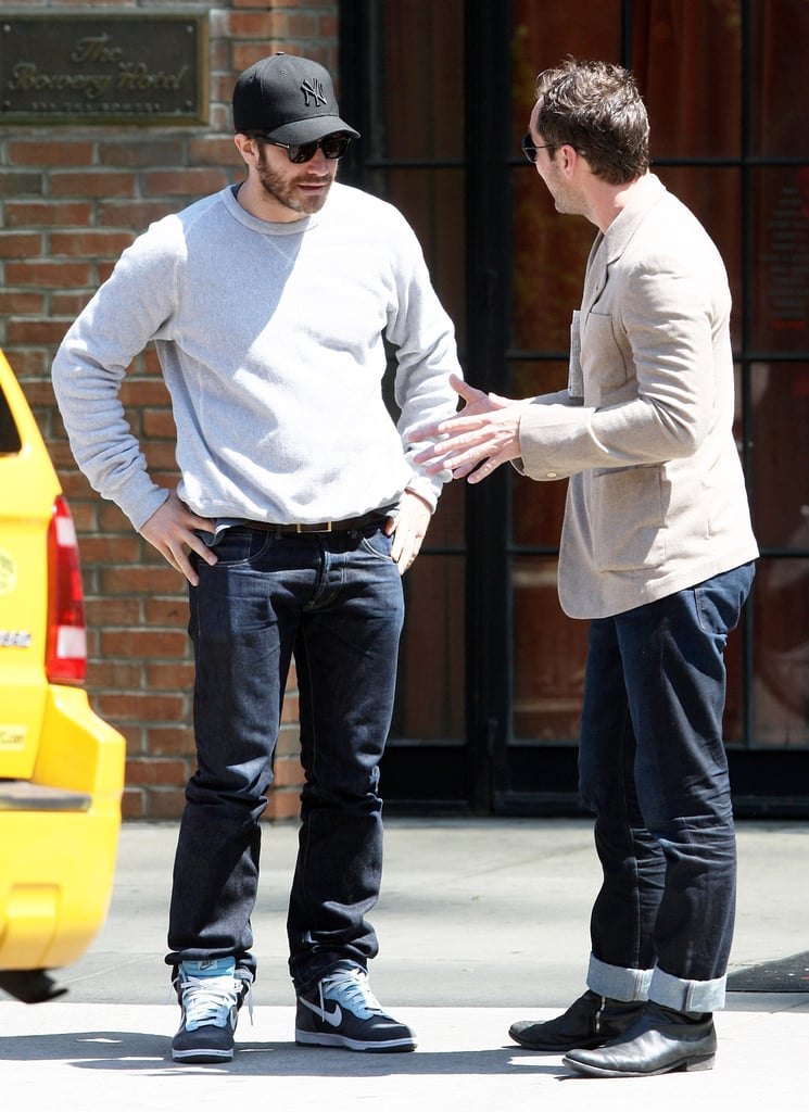 Jude Law stopped to talk to Jake Gyllenhaal on the street.