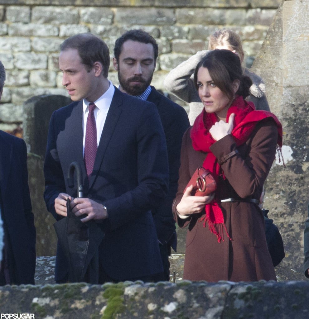 Kate wore a berry-red scarf and matching clutch while accompanying her family to Christmas mass.