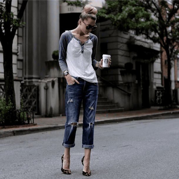 Give your off-duty denim a little oomph just by adding heels.  Source: Instagram user blaireadiebee