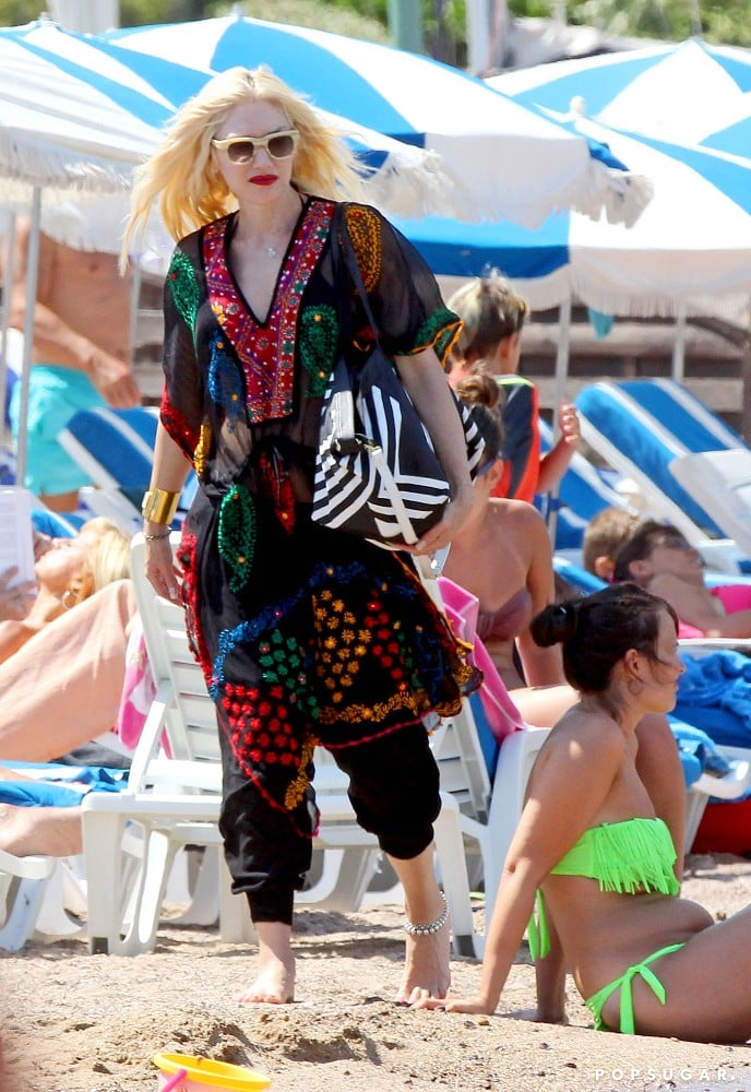 Gwen Stefani wore a colorful caftan on the beach in the South of France.