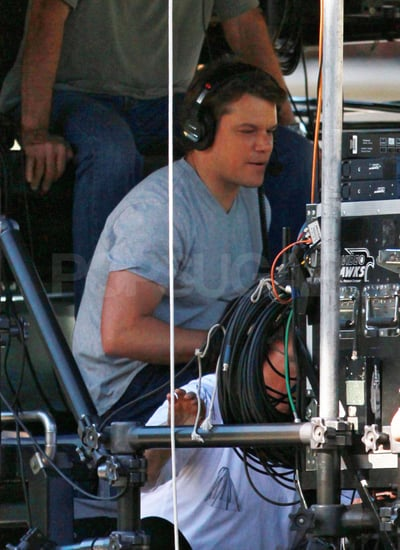 Pictures of Matt Damon on the Set of We Bought a Zoo in Pasadena
