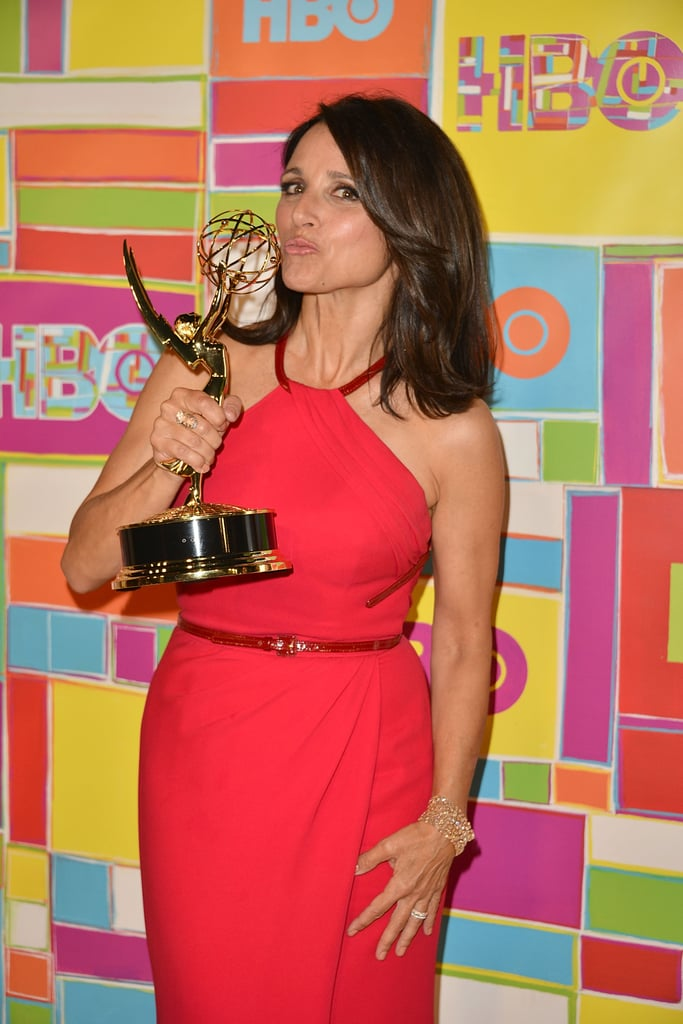 Julia Louis-Dreyfus kissed her Emmy on her way into the HBO bash.