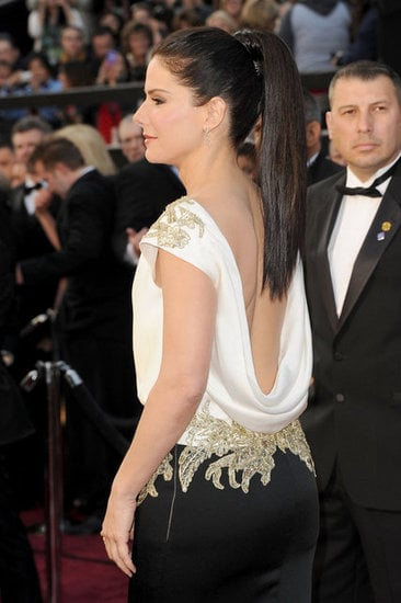 Sandra Bullock's dress was so elegant from the front, but the deep, draped back was a surprising reveal.