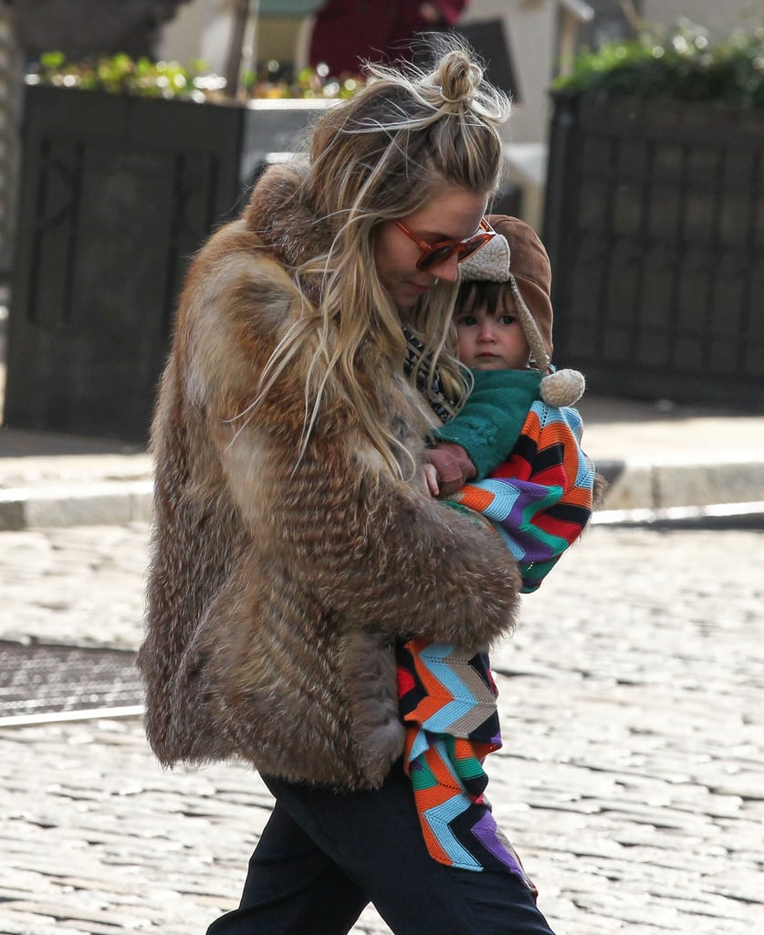 Sienna Miller Rocks Fur on Her Way to the Park With Marlowe