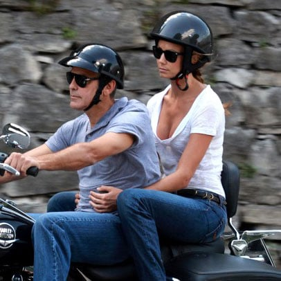George Clooney and Stacy Keibler Riding Motorcycle in Italy