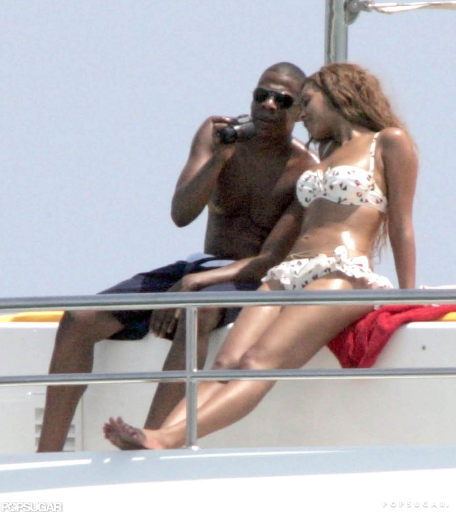 Jay Z and Beyoncé showed off their toned tummies while soaking up the sun off the coast of Saint-Tropez in June 2005.