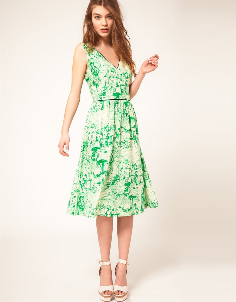 The garden-party print gets an update in this fresh Spring-green hue.  Asos Midi Dress In Watercolour Print ($68)