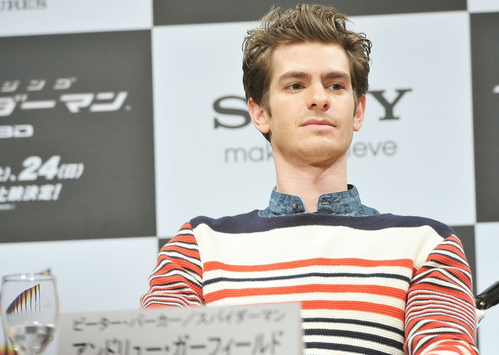 Andrew Garfield was onstage for the press conference for The Amazing Spider-Man in Japan.