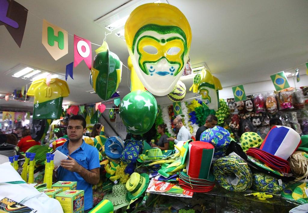 Souvenir shops in São Paulo set out World Cup gear.