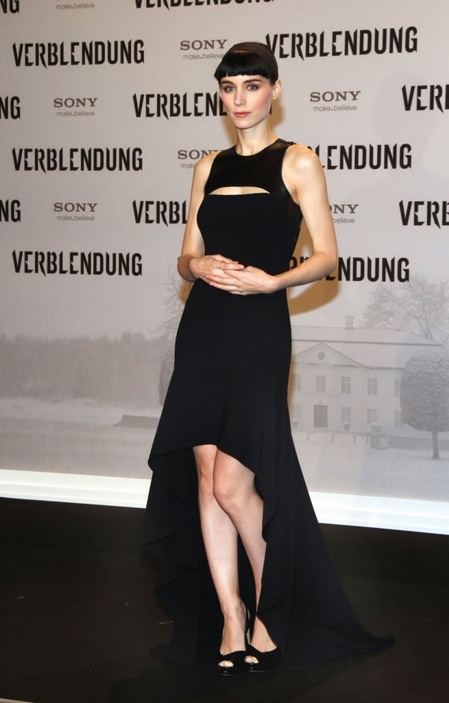 Rooney Mara in a black Michael Kors gown at a Berlin premiere.