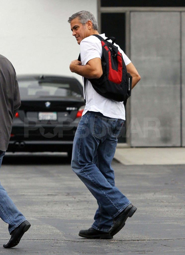 George Clooney with a backpack in LA.
