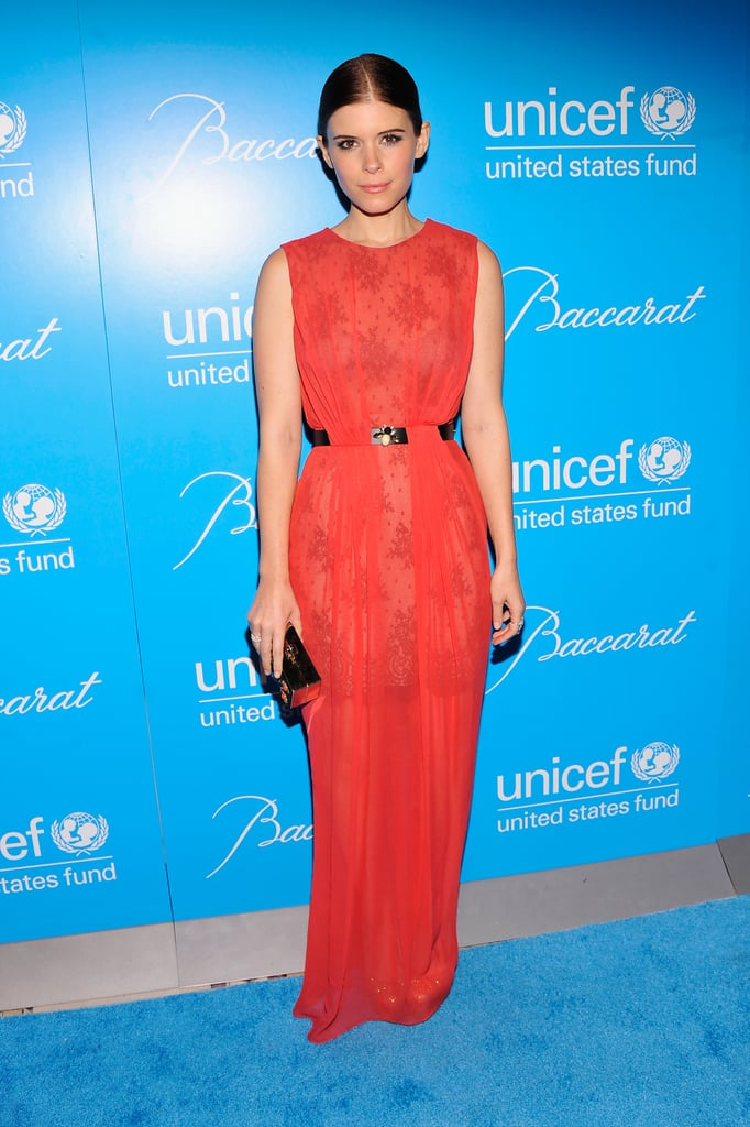 Kate Mara donned a lacy red Jason Wu for the night.