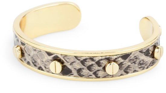 This C. Wonder screw stud snake embossed bracelet ($38) delivers a flash of exotic print to your stack of arm candy.
