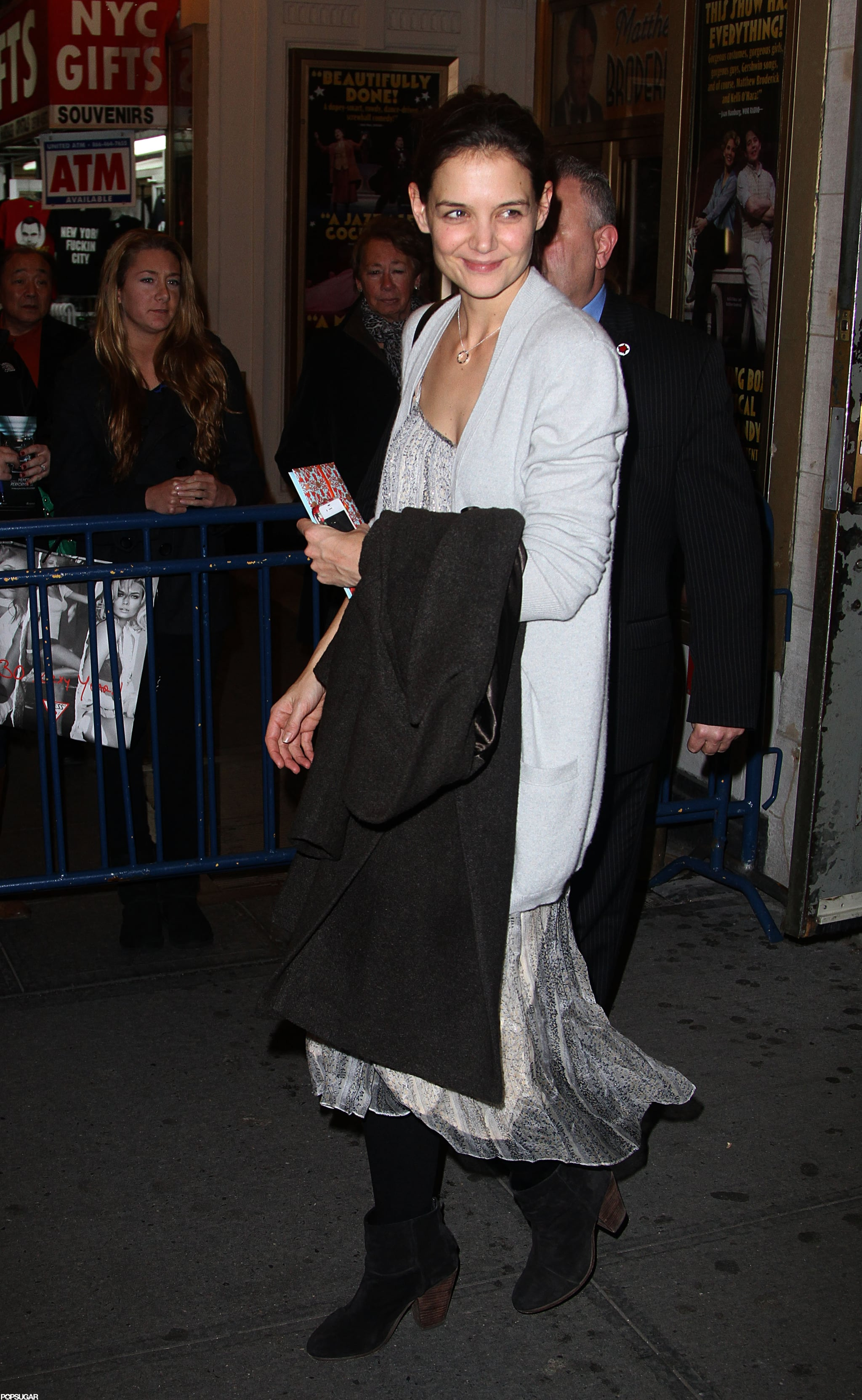 Katie Holmes had a smile on her face leaving her show, Dead Accounts, on her birthday.