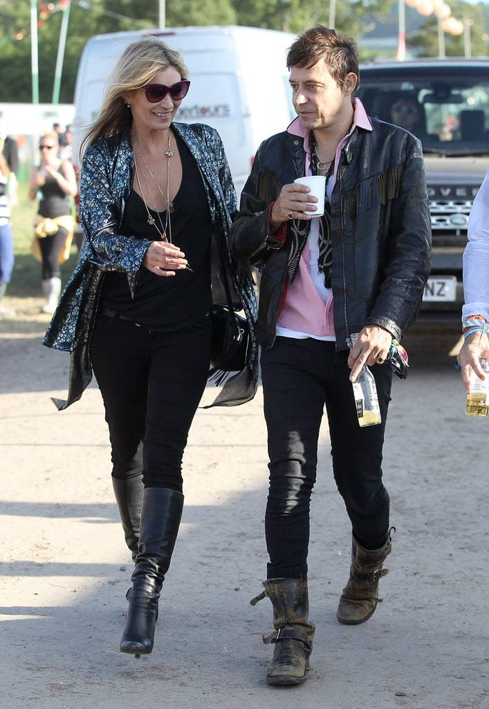 Kate strolled the Glastonbury grounds in June 2013 looking every bit the rock-and-roll chick in all black and a metallic cardigan.