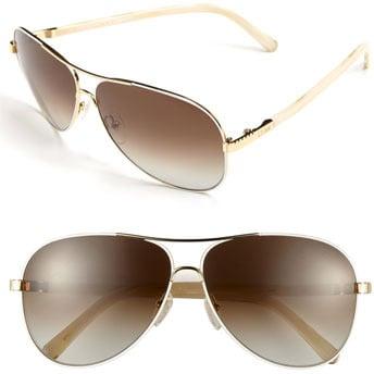 Chloe 61mm Aviator Sunglasses Gold/ White One Size