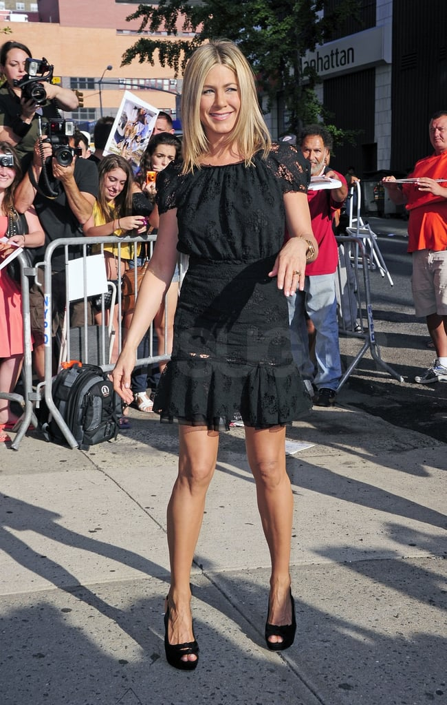 Jennifer Aniston wore a black dress to The Daily Show.