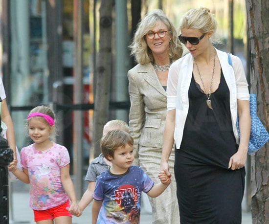 Slide Picture of Gwyneth Paltrow with Apple and Moses in New York