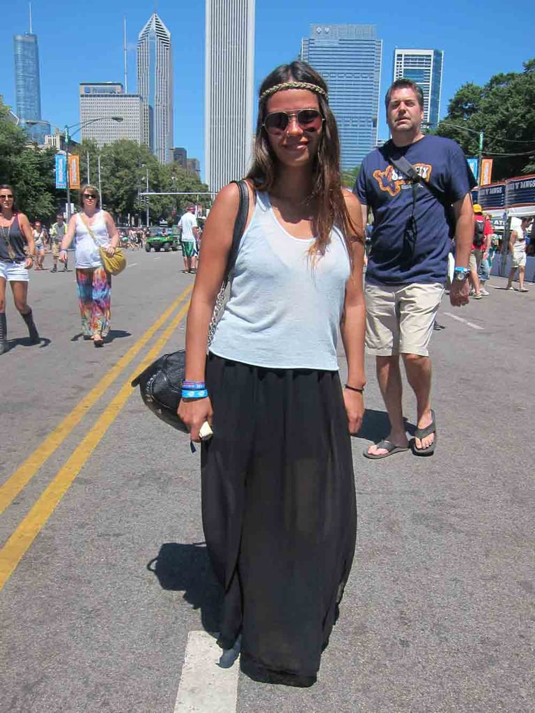 Viridiana's breezy ensemble — a loose white tank over a sheer black maxi shirt — was a nice antidote to the festivity's '90s revival of acid-washed denim cutoffs.