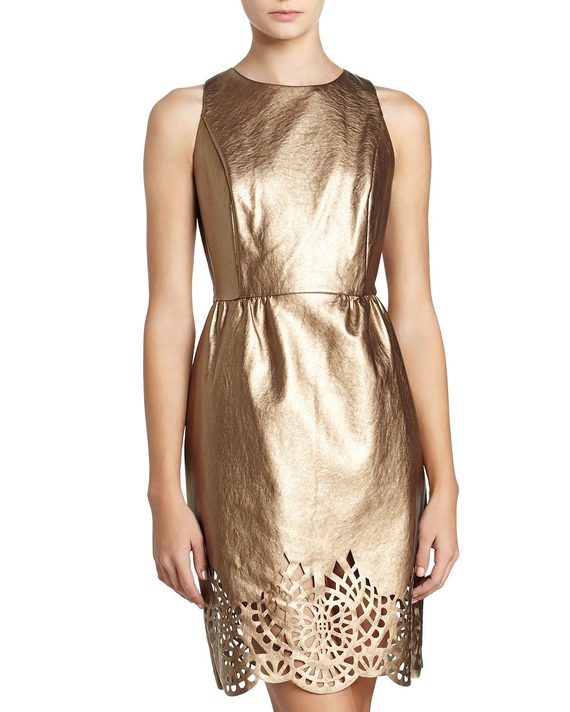 Michael Michael Kors Metallic Gold Laser-Cut Dress