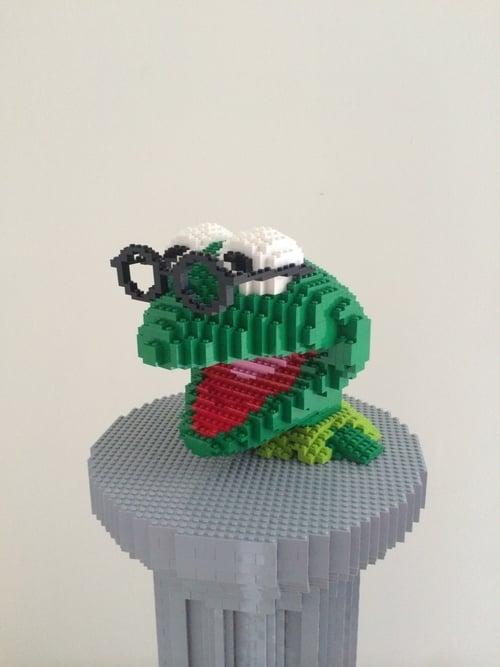 """""""Amphibian on Pedestal,"""" Nathan Sawaya"""