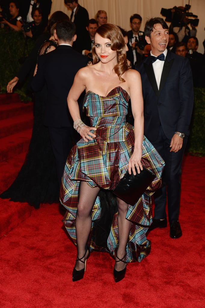 Christina Ricci was the ultimate punk princess in a strapless bustier-style plaid Vivienne Westwood gown, Ferragamo clutch, Harry Winston jewels, and Casadei pumps.