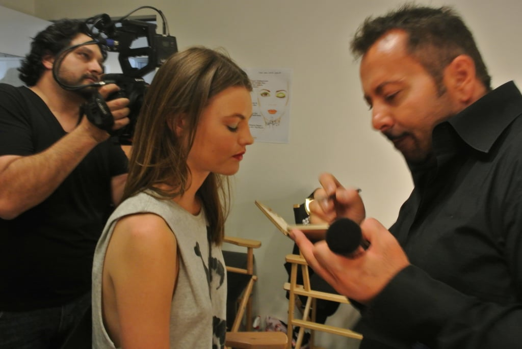 Montana and Napoleon in the makeup room.