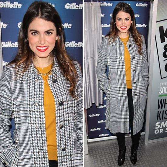 Nikki Reed Wearing Plaid Tory Burch Coat