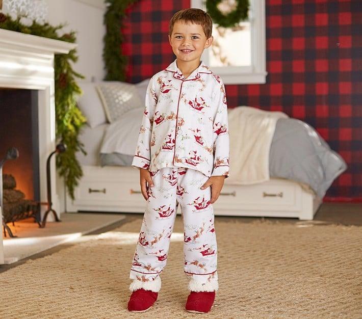 Pottery Barn Kids Santa's Sleigh Flannel Pajama