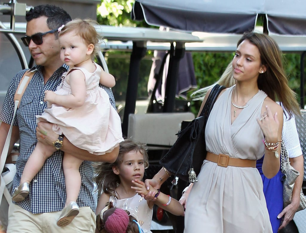 Jessica Alba and her husband, Cash Warren, took their daughters, Honor and Haven, to Mother's Day brunch in LA.