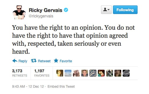 Ricky Gervais clears a few things up.