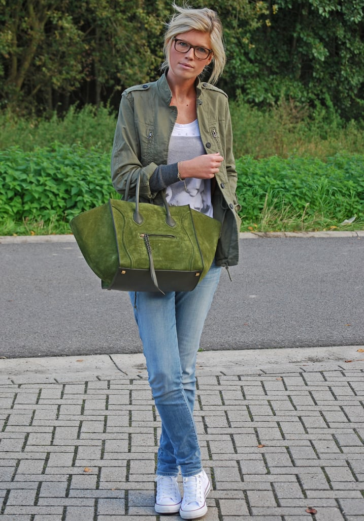 Play with tone on tone colour schemes — we love the way this army jacket gets a complementary finish from her rich moss-green Celine tote. Source: Lookbook.nu