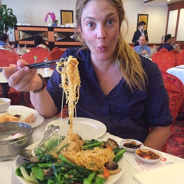 Drew Barrymore feasted on Chinese food. Source: Instagram user drewbarrymore