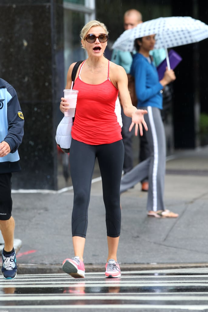 Cameron Diaz responded to someone as she crossed the street.