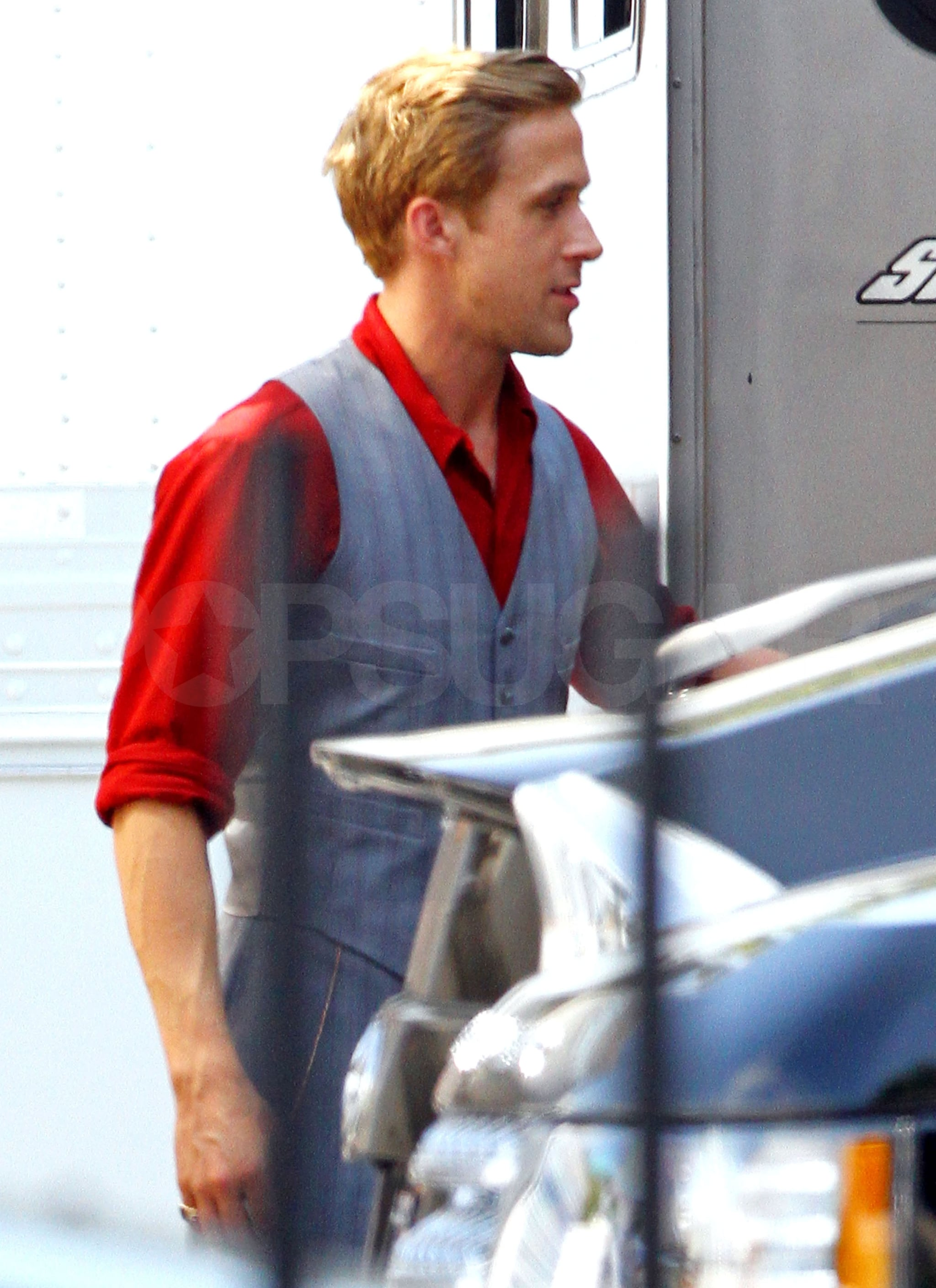 Ryan Gosling on the Gangster Squad set.
