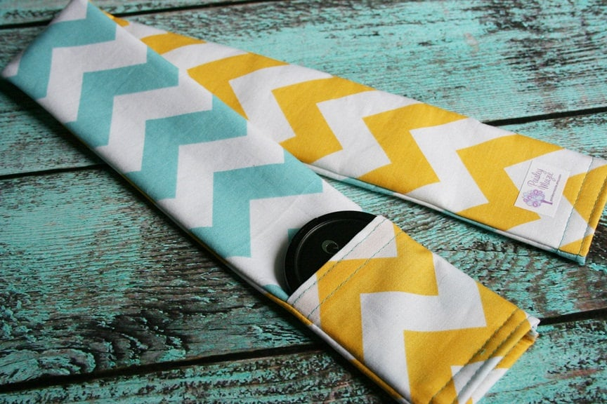 Blue-and-Yellow Chevron Camera Strap