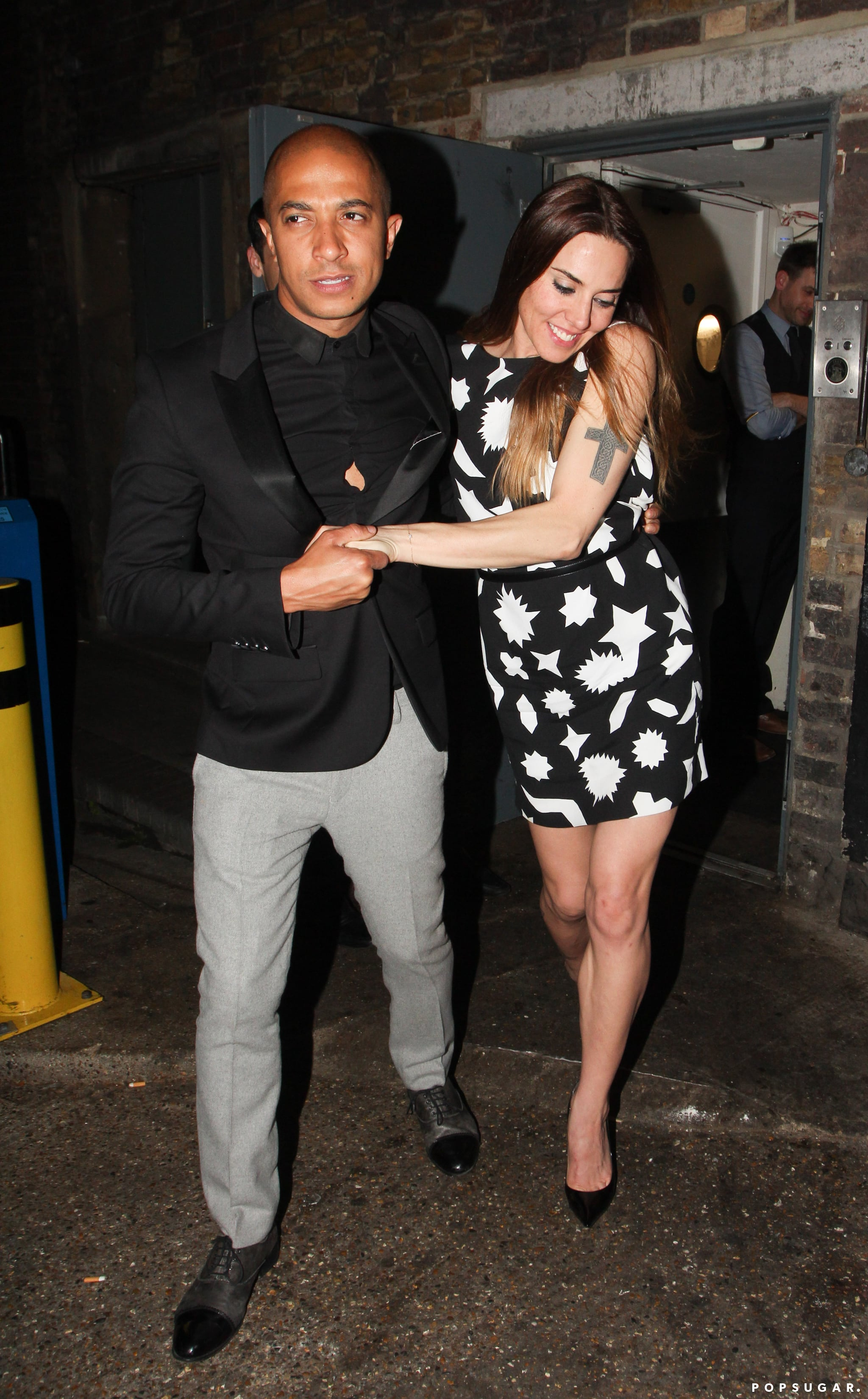 Mel C needed a bit of support while leaving the party.