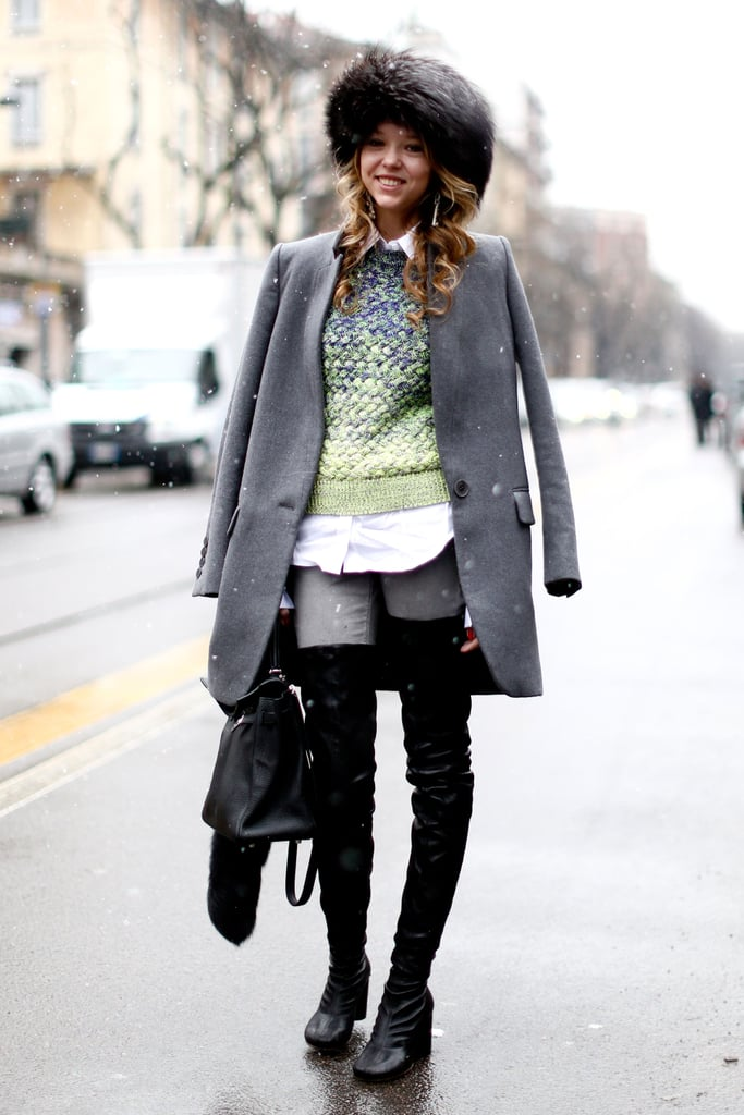Thigh-high boots gave this menswear-inspired style a sexier side.
