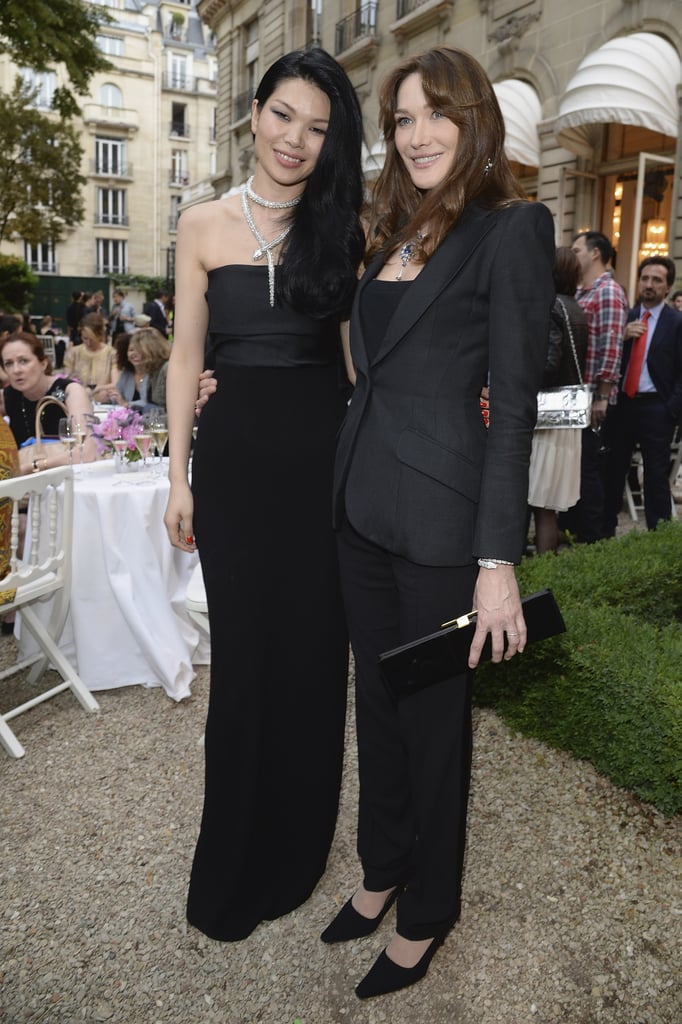 Lv Yan and Carla Bruni decked their black ensembles in Bulgari jewels for the label's Parisian party.