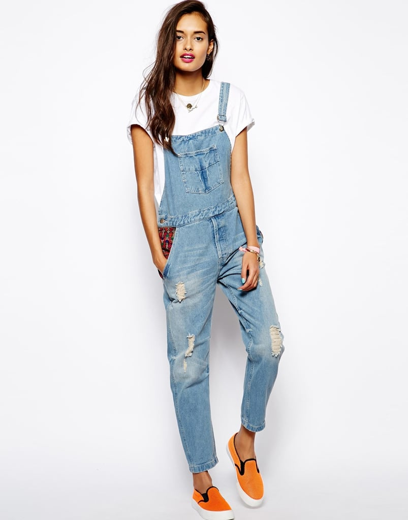 Native Rose patchwork denim overalls ($141)