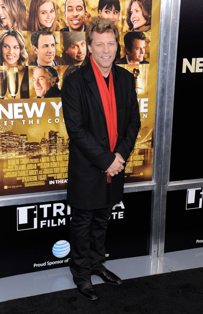 Jon Bon Jovi kept warm in NYC with a the help of his red scarf.