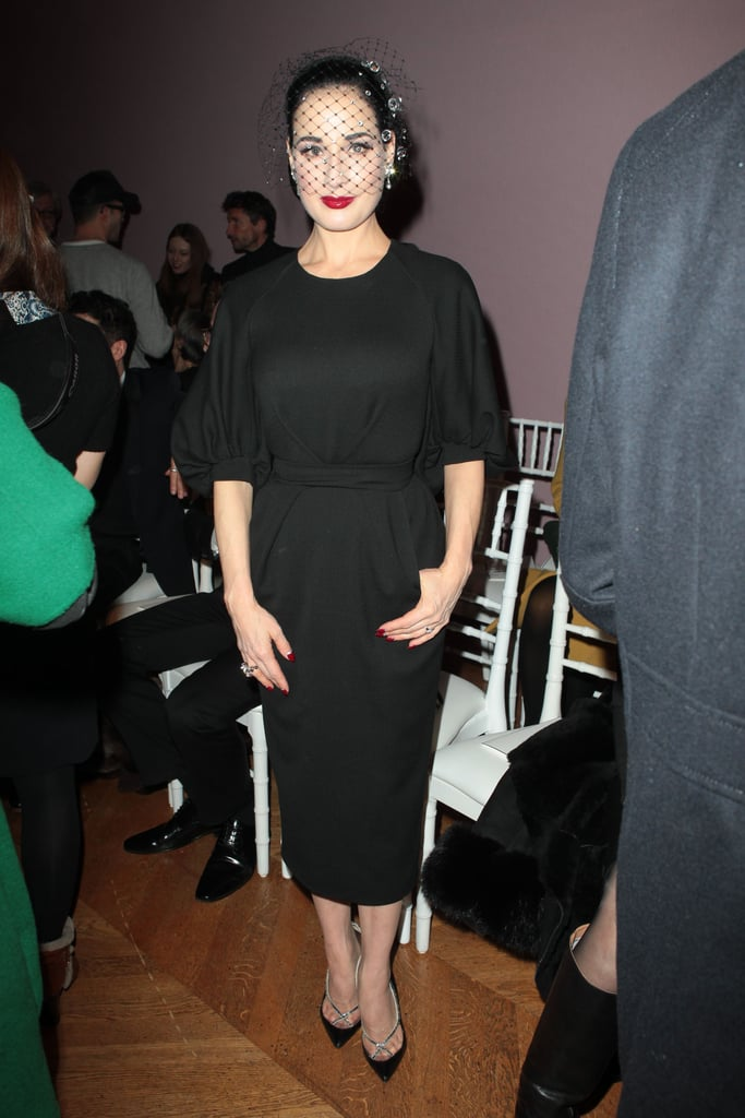 Dita Von Teese posed for photos at the Alexis Mabille Spring/Sumer 2013 Haute Couture fashion show on Monday in Paris.
